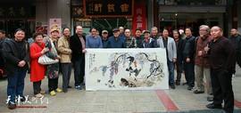 著名画家卢贵友在鹤艺轩创作大幅画作《吉祥图》 笔精墨妙意得神足