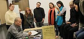 天津著名画家缪文杰在美国犹他州讲学办展传播中华文化