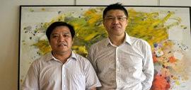 高清图:天津美协秘书长李耀春看望国际油画大师程亚杰