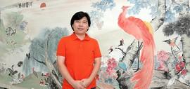 著名青年画家陈志峰创作巨幅画作《丹凤朝阳》