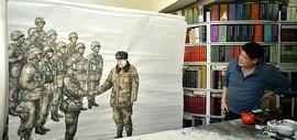 画家王悲秋节日加班加点画画忙 巨幅画作《主席与战士》主体告成