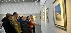 高清图:丹青谱·张俊、吕少英、阚传好国画作品跨年展在天津图书馆开幕