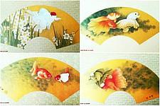 天津著名画家李新禹金笺金鱼扇面欣赏