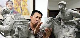 八千里路云和月 孙乃宽创作大型群组雕塑《赶大营》