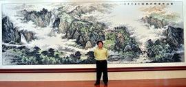 高清图:山水画家李学亮两幅巨作在滨海新区创作完成