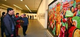 高清图:迎新年-津南区美术书法精品展在天津美术馆开幕