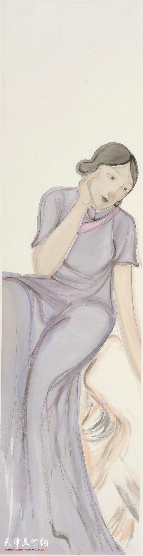马兆琳水墨作品:丽人