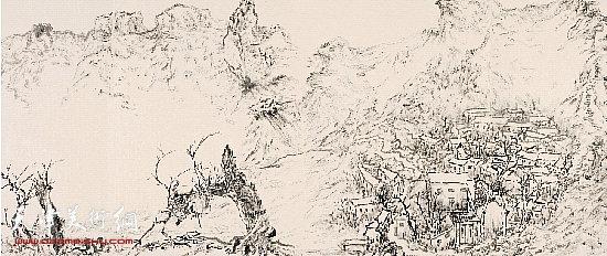 杜月涛 太行山居图 44.5×698.5cm(局部) 2008年春