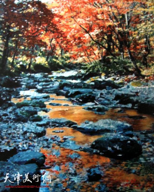 霍然绘画作品 溪山红叶