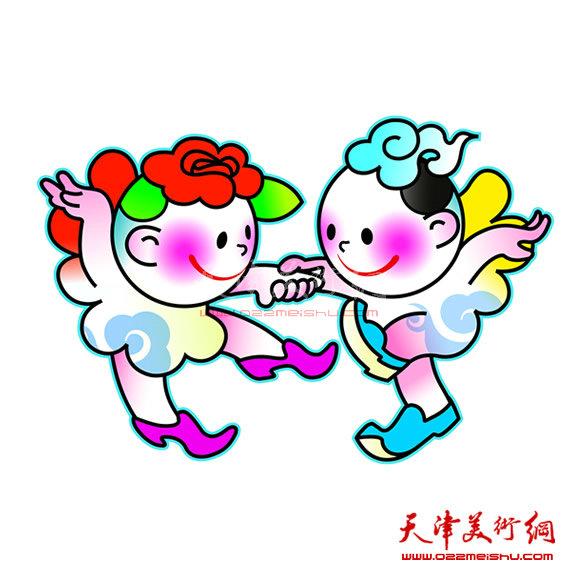 """吉祥物是由象征""""和平,友谊""""的天津市花——月季,组成的可爱""""友谊天使"""""""