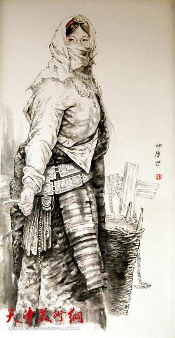 王印强作品:《藏族姑娘》
