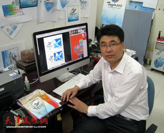 第六届东亚运动会纪念邮资片设计者郭振山
