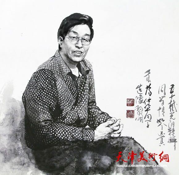 庞黎明先生创作的水墨肖像画作品《杜仲华先生》