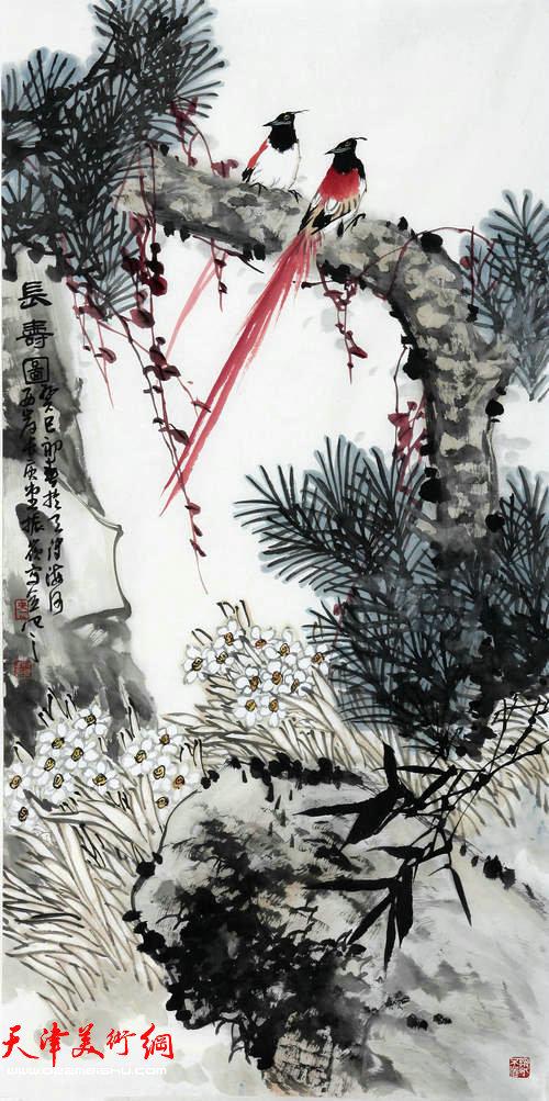 著名画家史振岭花鸟画:《长寿图》