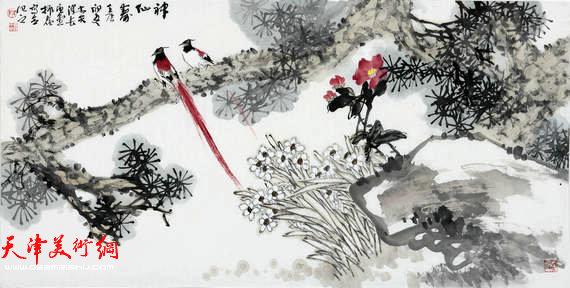 著名画家史振岭花鸟画:《神仙寿》