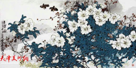 著名画家史振岭花鸟画:《玉洁图》