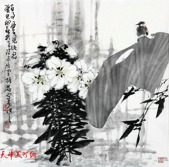 著名画家史振岭花鸟画:《百事好合》