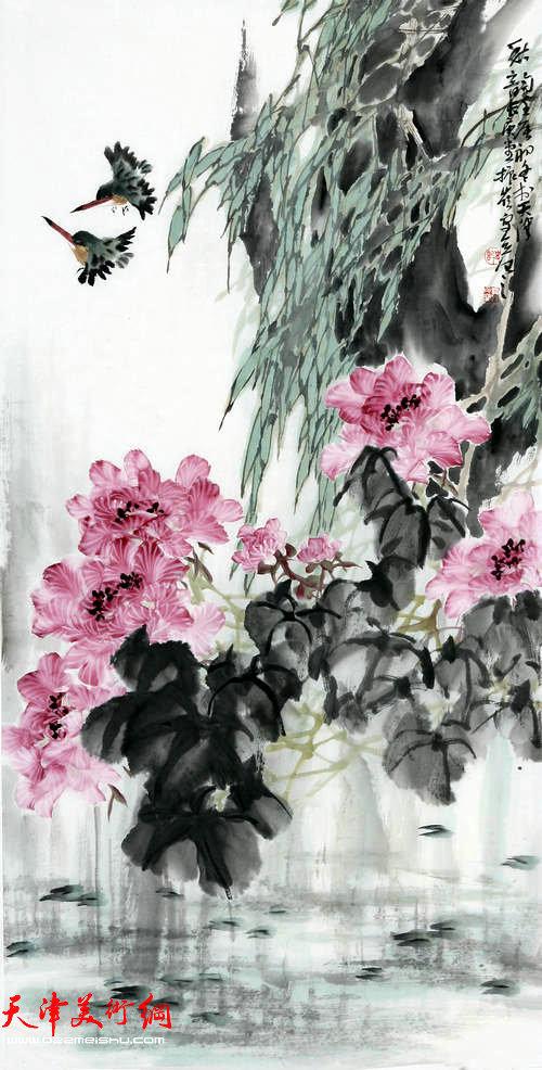 著名画家史振岭花鸟画:《秋韵》