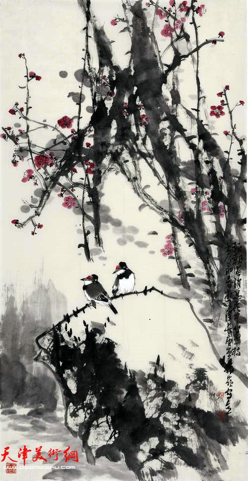 著名画家史振岭花鸟画:《预报春消息花中第一枝》