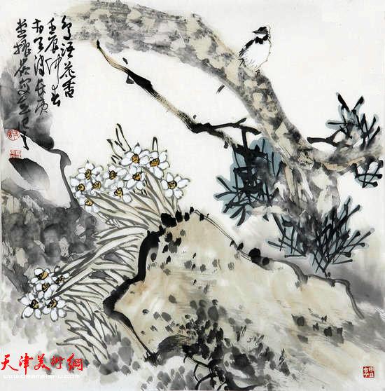 著名画家史振岭花鸟画:《鸟语花香》