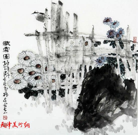 著名画家史振岭花鸟画:《傲霜图》