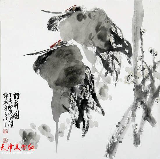 著名画家史振岭花鸟画:《鹤舞图》