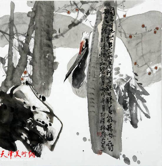 著名画家史振岭花鸟画:《秋悲寂寥》