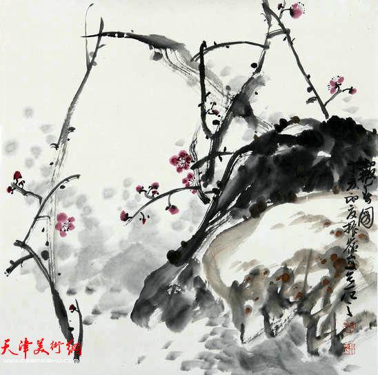 著名画家史振岭花鸟画:《报春图》