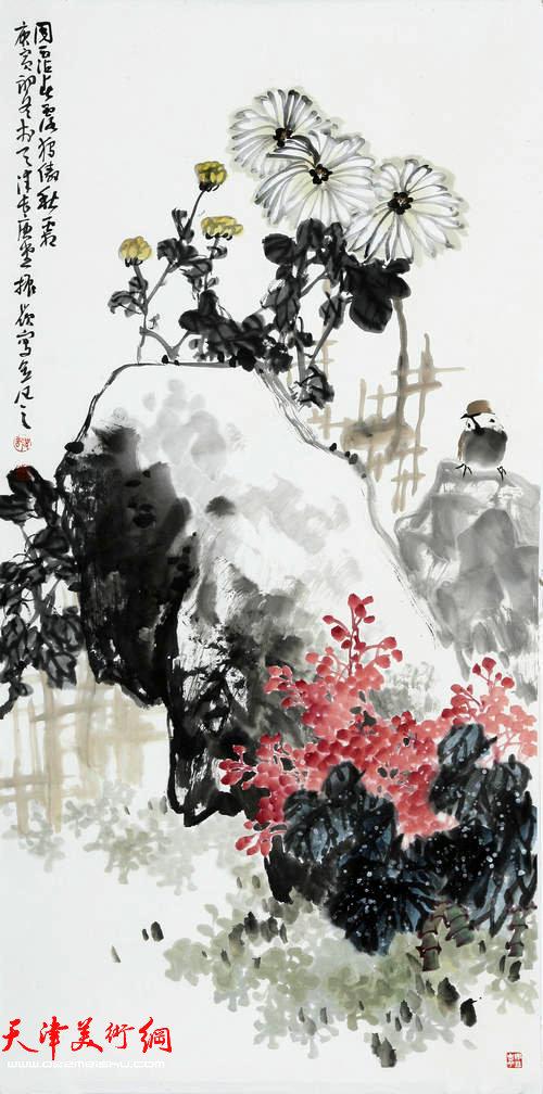 著名画家史振岭花鸟画:《傲秋霜》