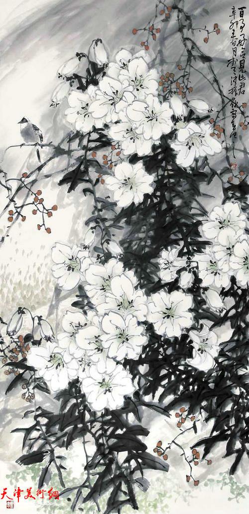 著名画家史振岭花鸟画:《百事好合见此君》
