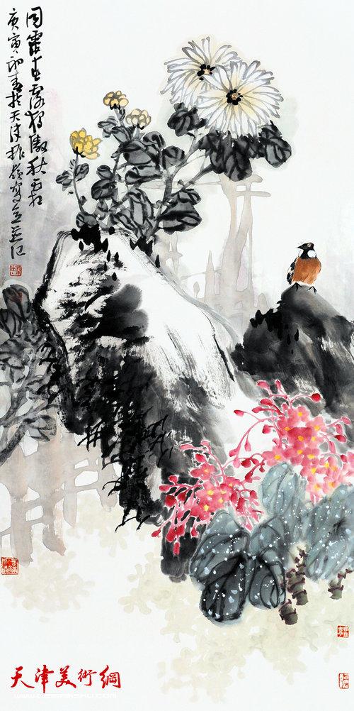 著名画家史振岭花鸟画:《独傲秋霜》
