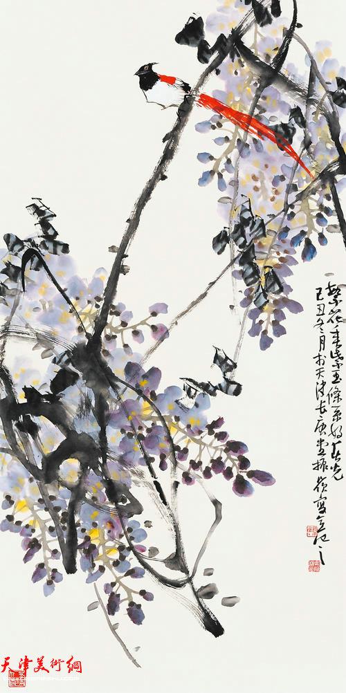 著名画家史振岭花鸟画:《繁花垂紫玉》