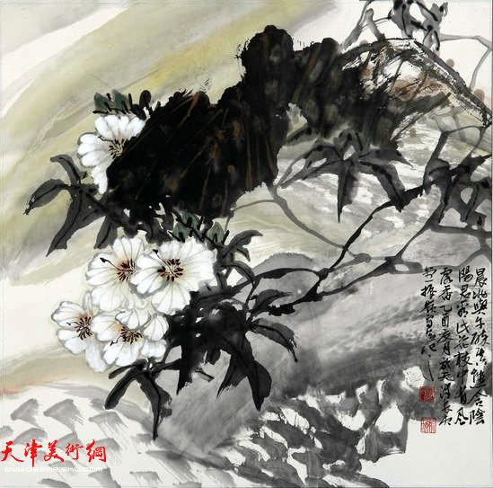 著名画家史振岭花鸟画:《晨风凝香》