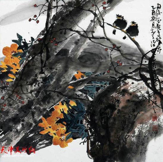 著名画家史振岭花鸟画:《秋紧声奇》