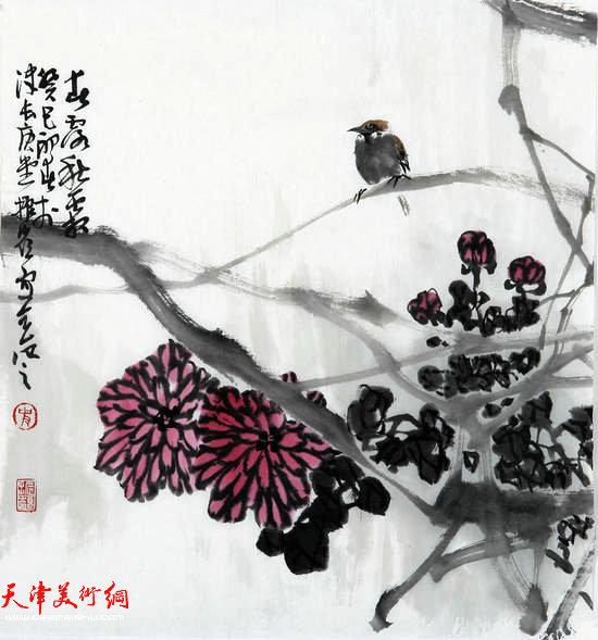 著名画家史振岭花鸟画:《清香悠远》