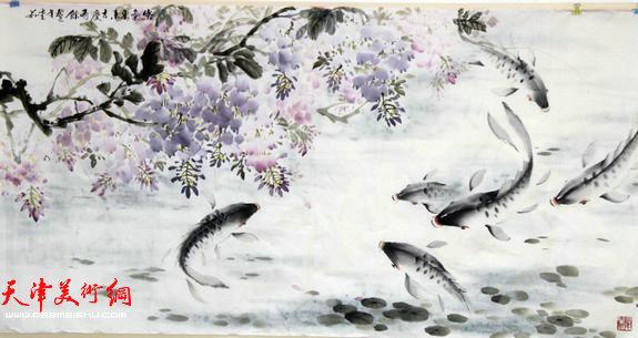 天津英伦名苑书画联谊会举办迎新年笔会,图为吕爱茹国画作品。