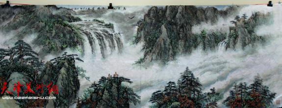 天津英伦名苑书画联谊会举办迎新年笔会,图为谢天强国画作品。