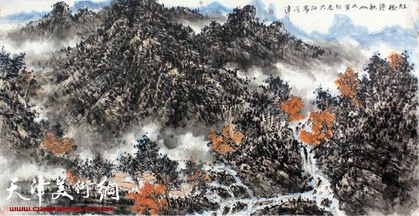 吕大江山水画作《红树染秋山》