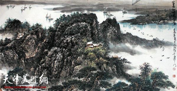 吕大江山水画作《富春江畔》