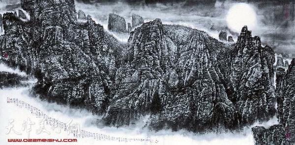 吕大江山水画作《天接云涛连晓雾》