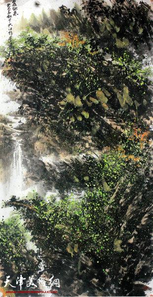 吕大江山水画作《山雨欲来》