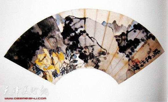 梁崎作品:月季 指画 扇面