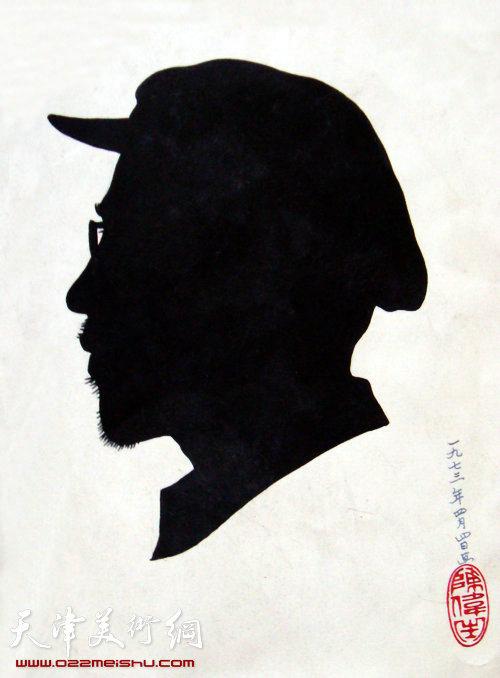 1973年陈伟生先生为梁崎先生制作的剪影画