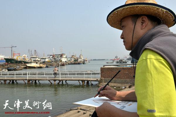 天津中青年画家在滨海新区写生