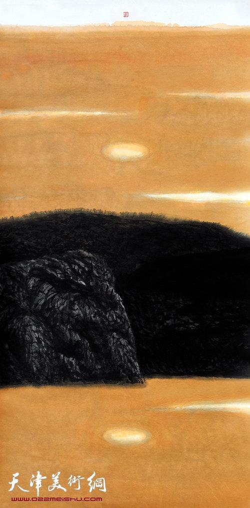 姜陆《守望之一》,2011 136x68,姜陆水墨纸本
