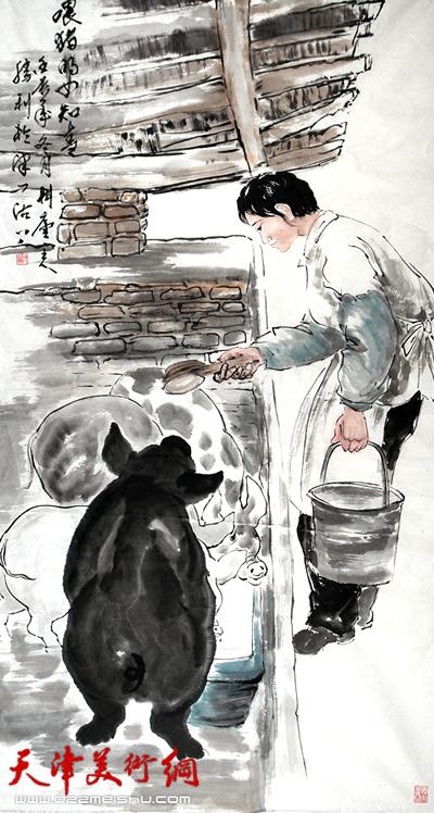 我小时侯也是在无意之中画了一幅蜡笔画,画的是一个老农民赶着毛驴车