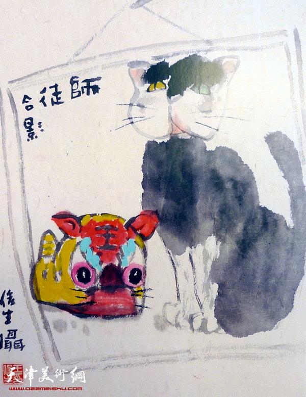 王俊生水墨画:《师徒合影》