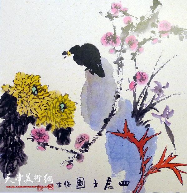 王俊生水墨画:《四君子图》