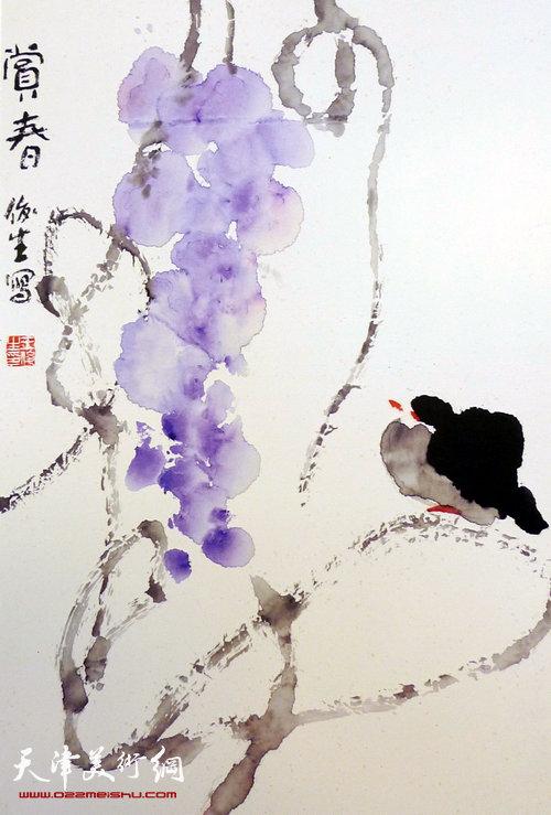 王俊生水墨画:《赏春》