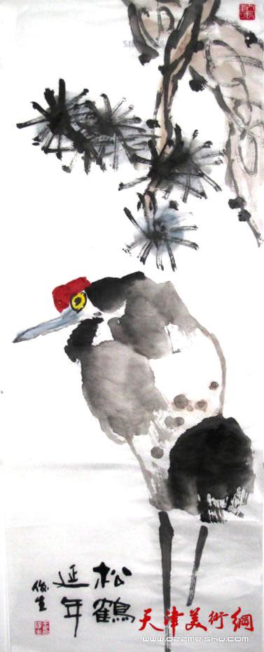 王俊生水墨画:《松鹤延年》